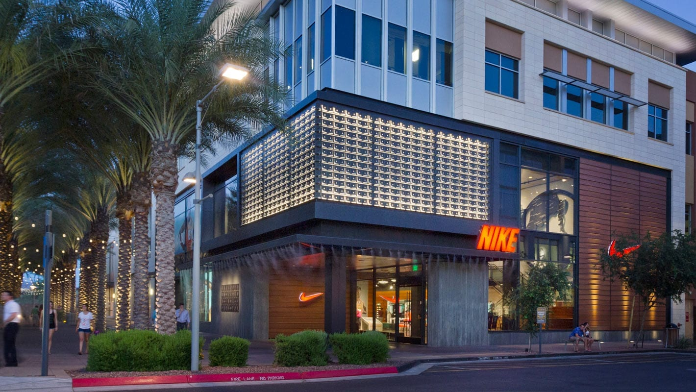 Sideview of the Nike flagship store in Scottsdale, Arizona.