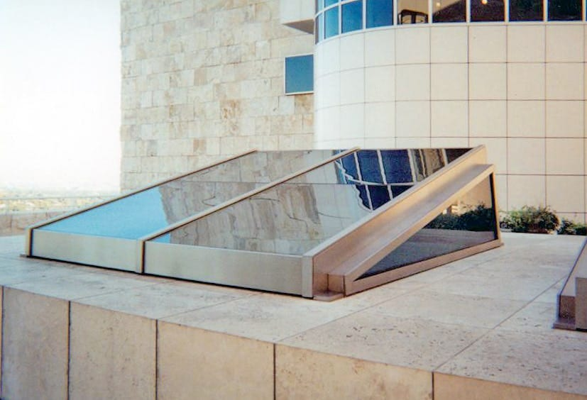 GLASS SKYLIGHTS MANUFACTURED BY ZAHNER FOR THE THE GETTY MUSEUM.
