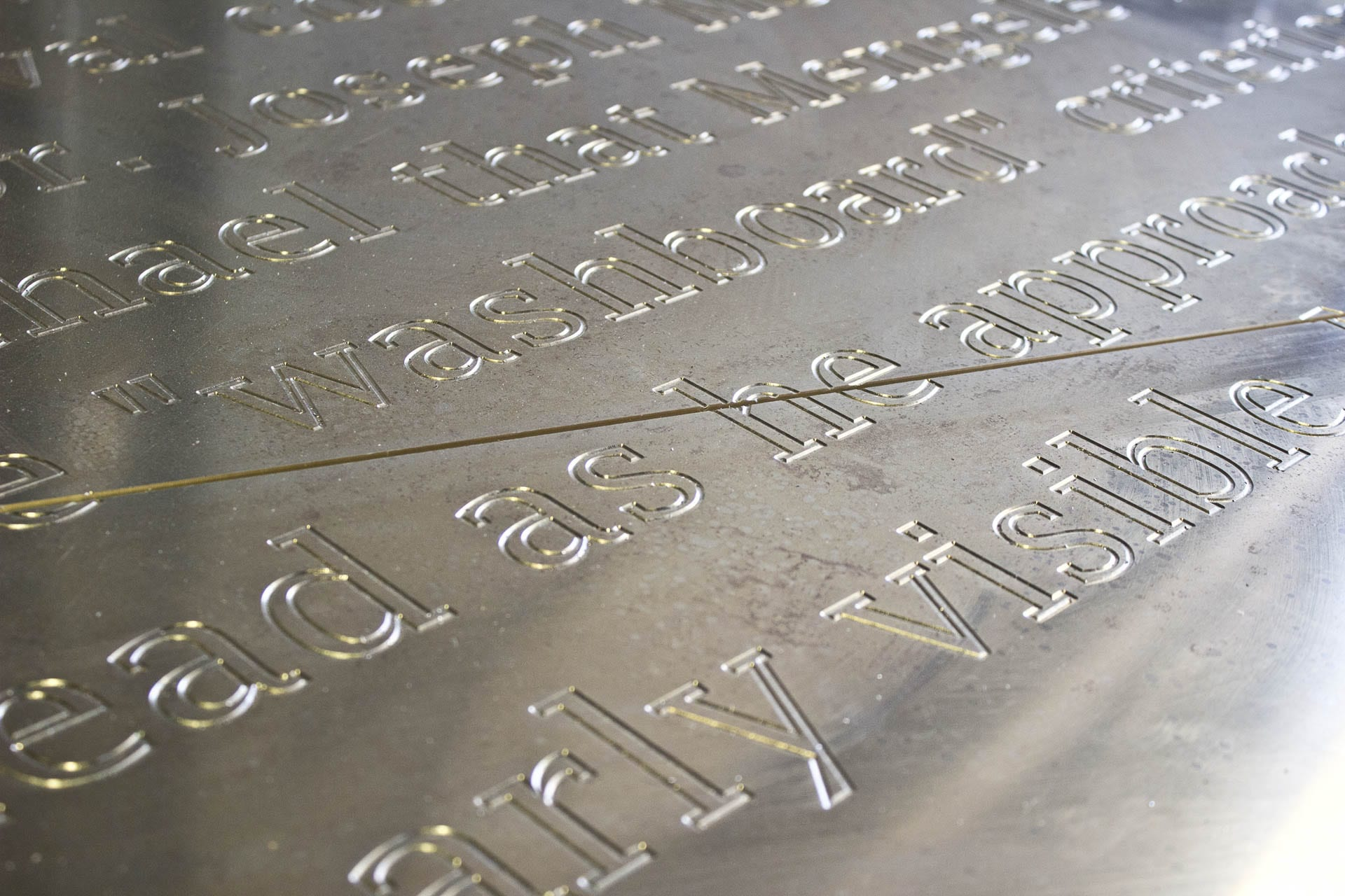 Detail of the metalwork prior to patination for the Detail of the mockup for the Ohio Statehouse Holocaust Memorial