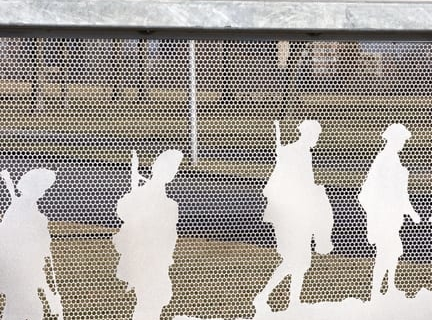 Detail of the photomosaic and perforated metal.