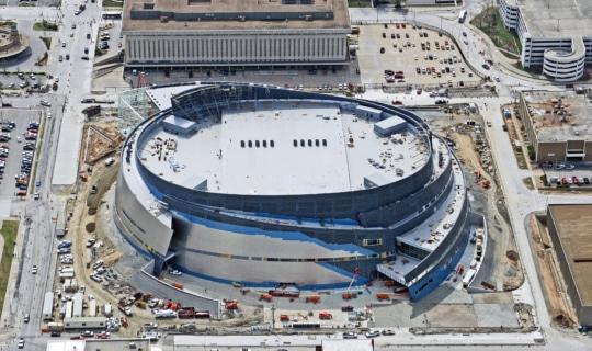Photograph of BOK Center during construction.
