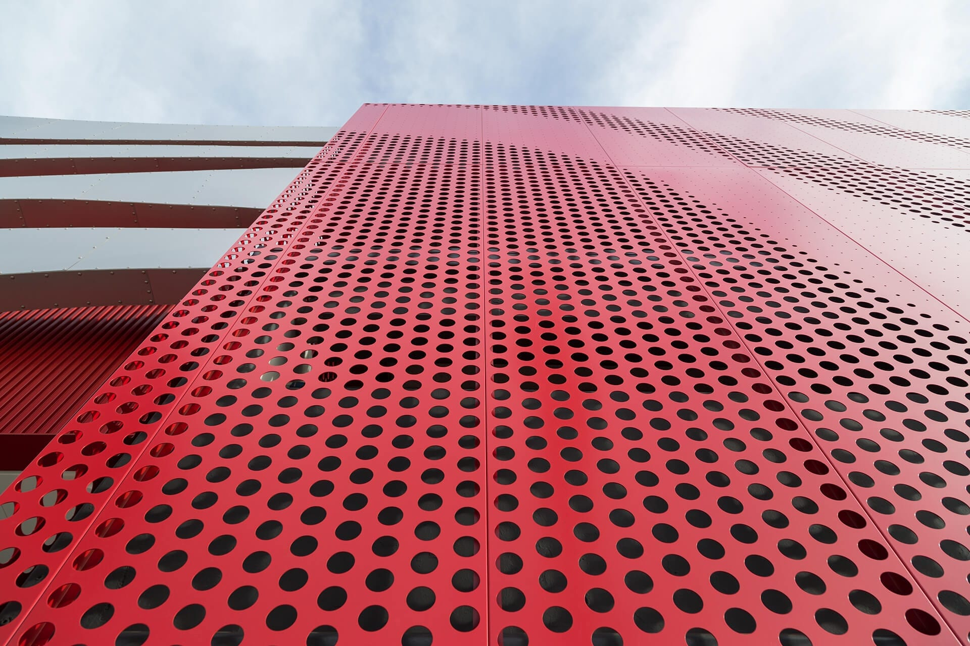 Detail of the screenwall facade of the Petersen Automotive Museum.