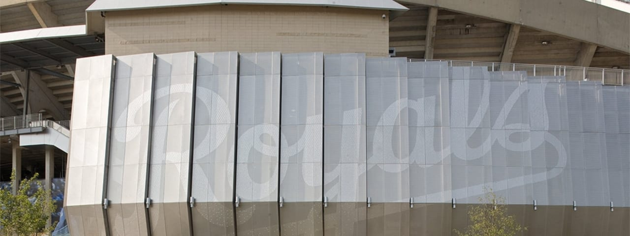 Kauffman Stadium facade with perforated