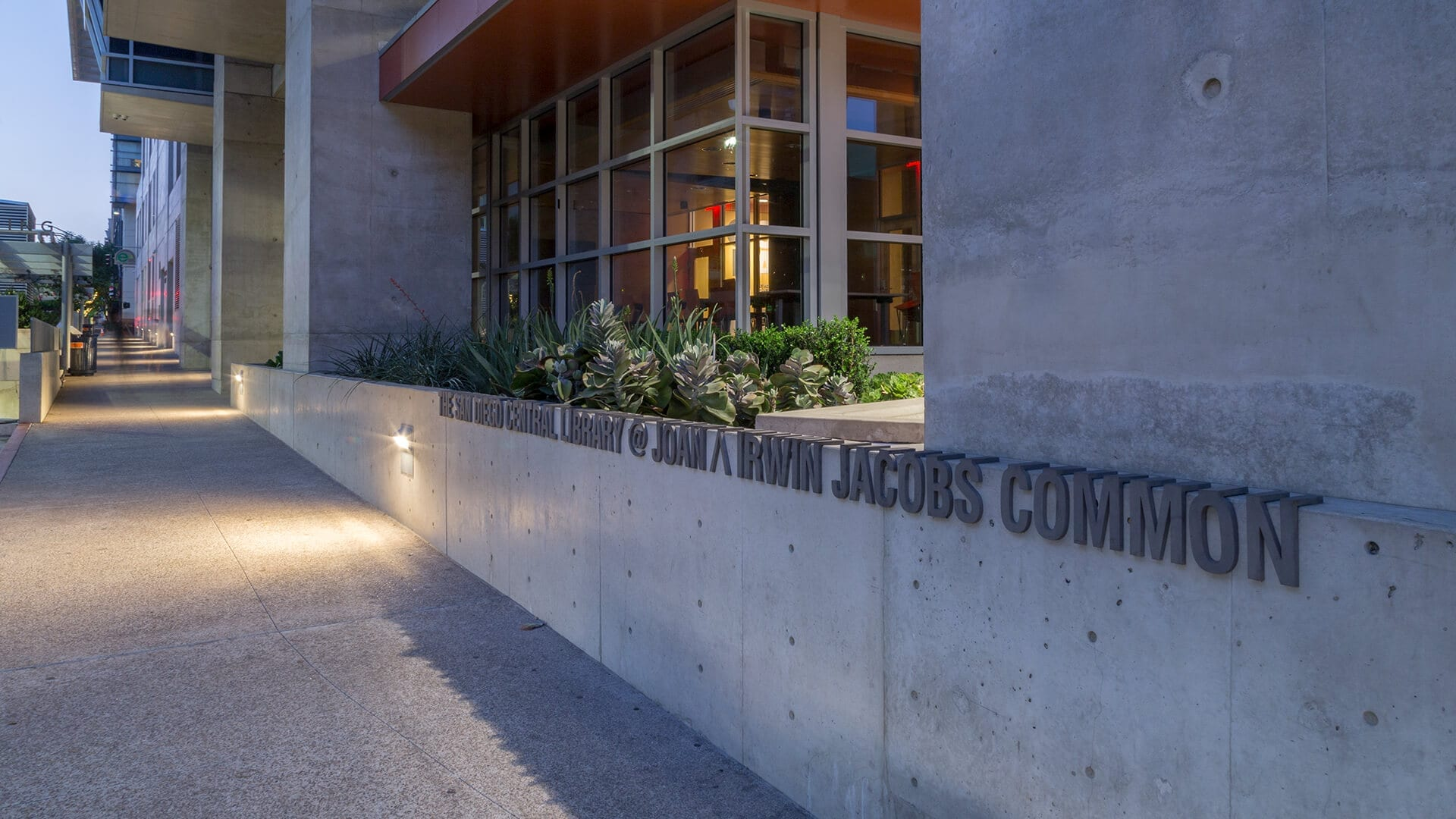 Joan ? Irwin Jacobs Common signage donor recognition for the San Diego Central Library .