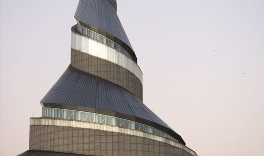 Detail of the Independence Temple spire, designed by Gyo Obata of HOK.