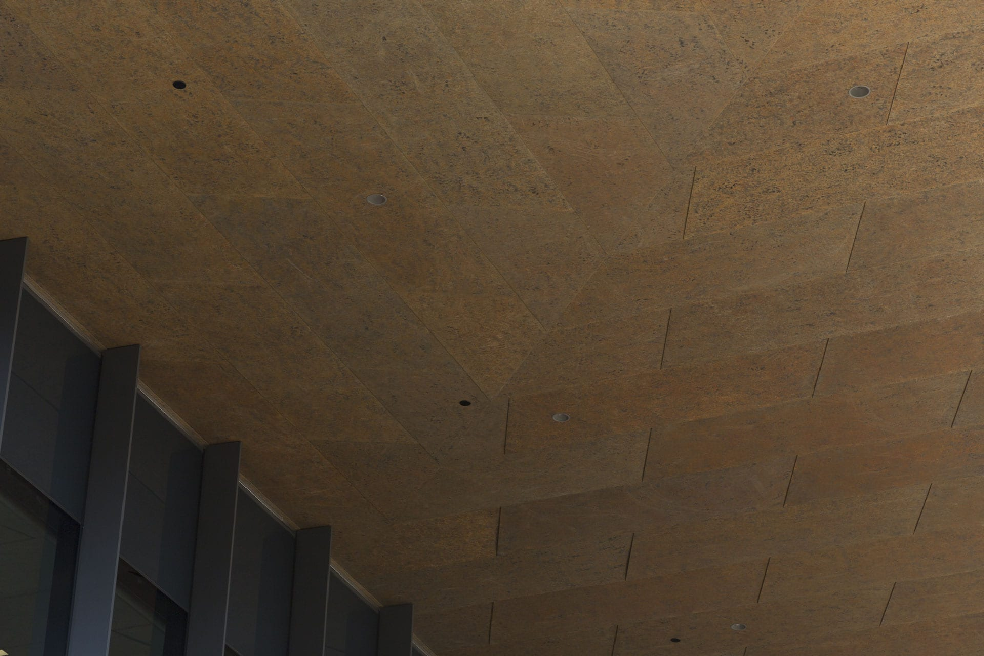 Custom zinc ceiling soffit for the McMurtry Building in Stanford, California.