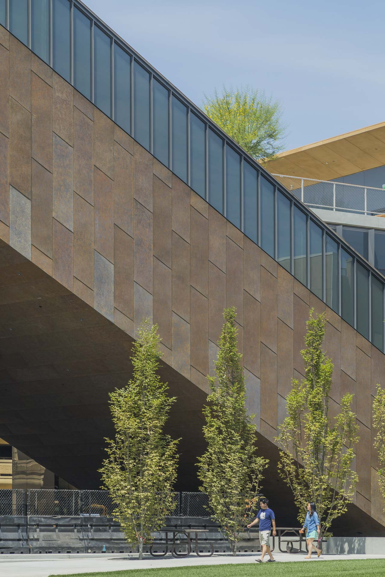 Detail of the Zinc panels on-site at the McMurtry Building in California.