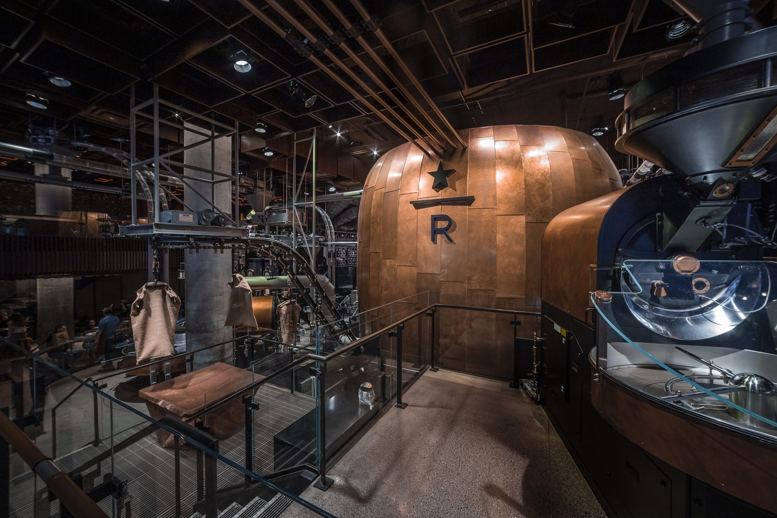 Photo of Starbucks Reserve New York Roastery featuring Zahner copper with custom patina.