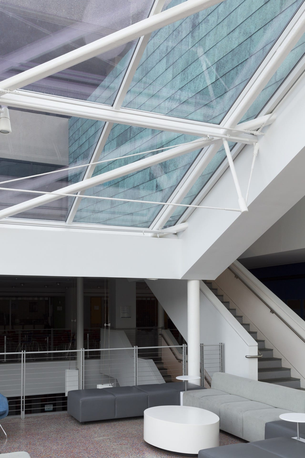 Interior view of the Star Blue™ copper panels at SUNY New Paltz Student Union Building