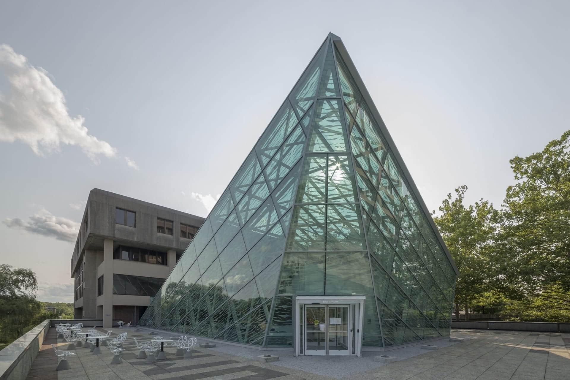 Exterior glass facade of SUNY New Paltz