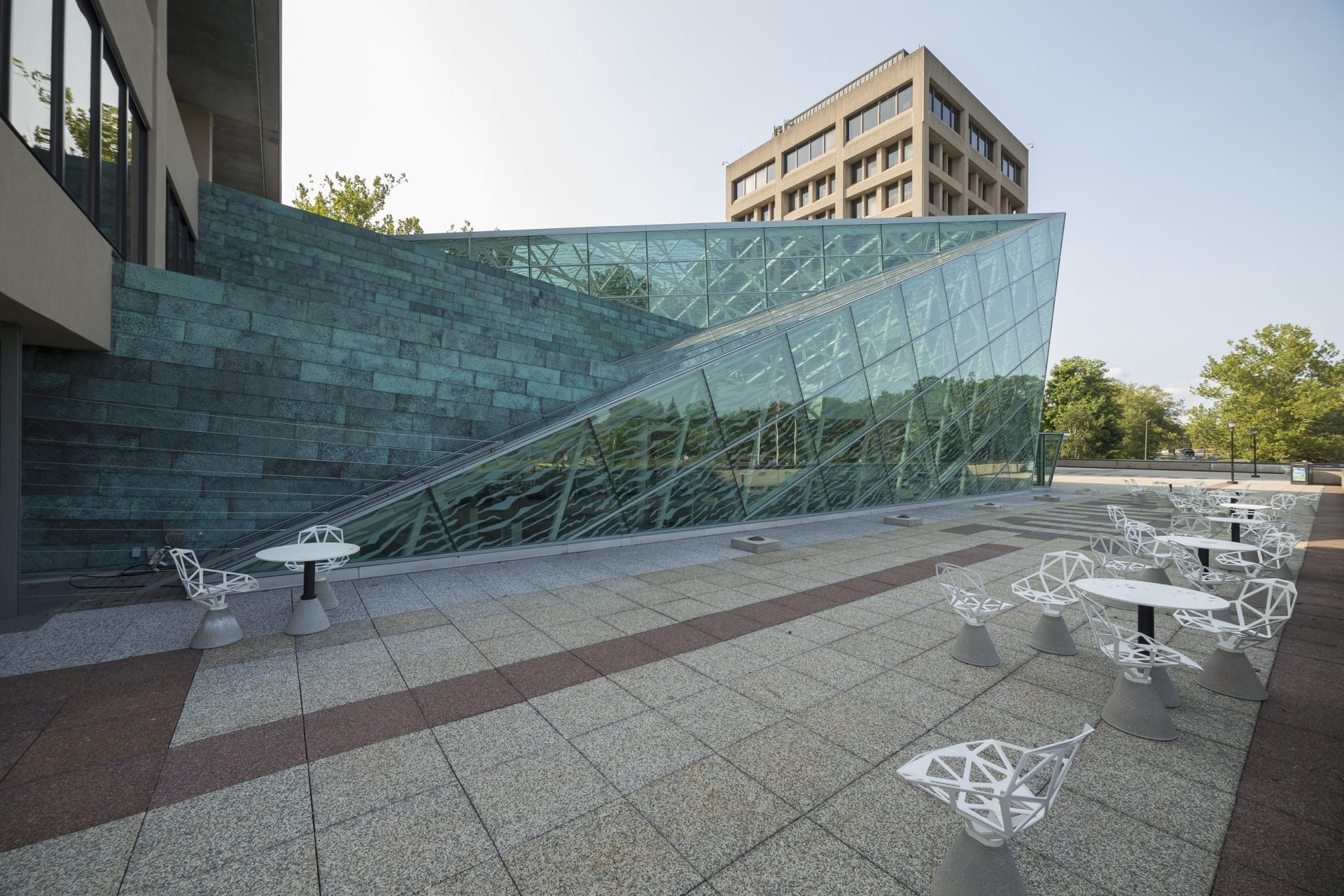 Copper and glass facade of SUNY New Paltz