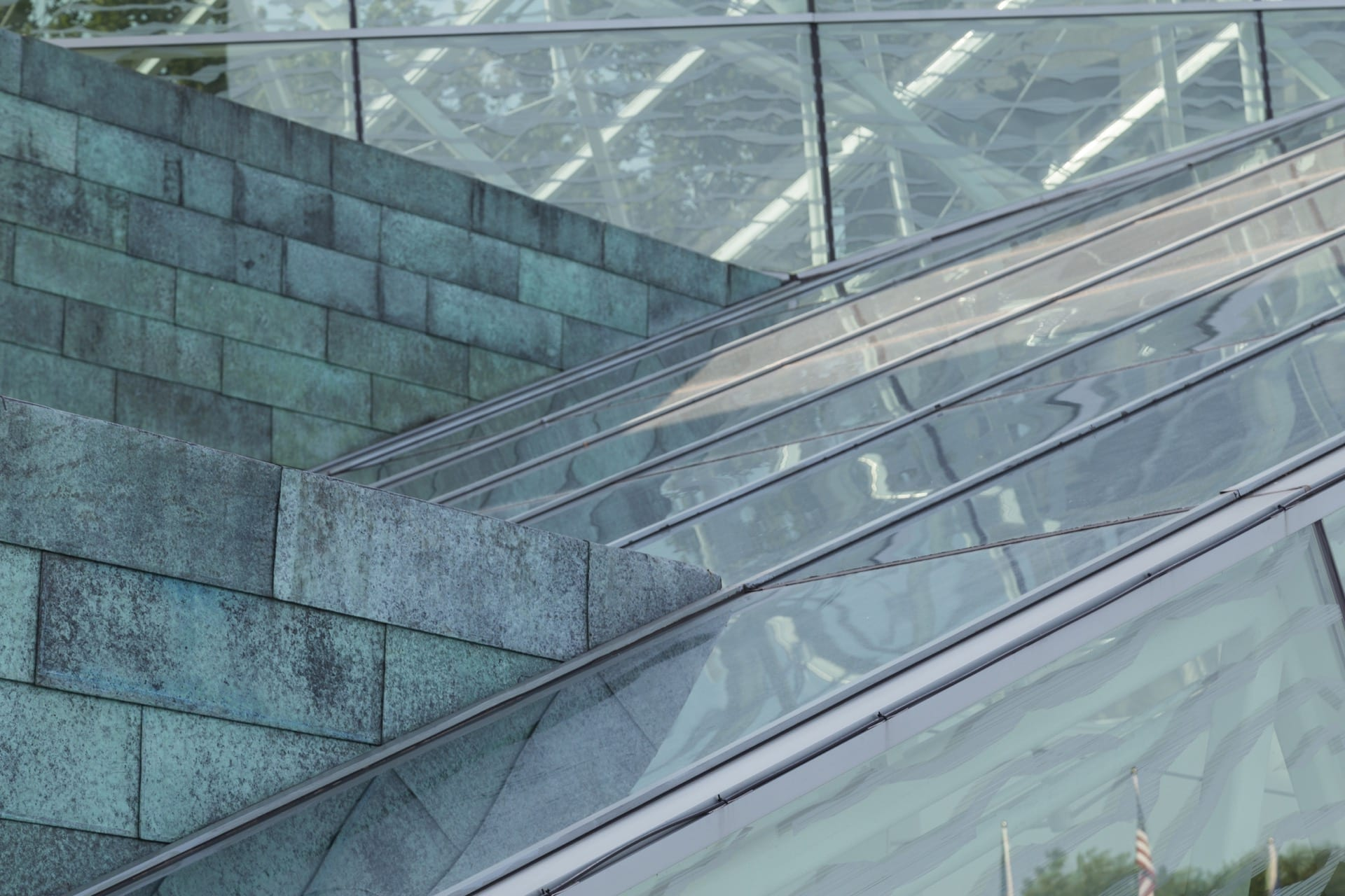 Detail of the copper and glass facade of SUNY New Paltz