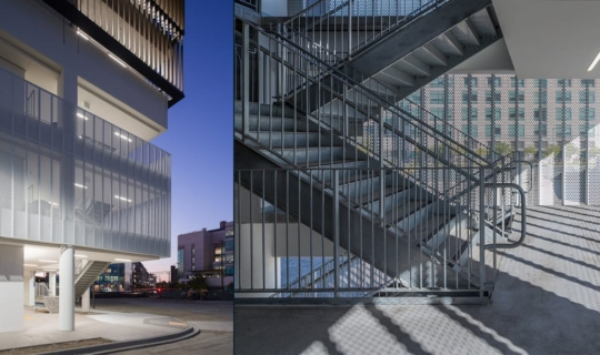 Details of the perforated surface of the UCSF Mission Bay Garage.