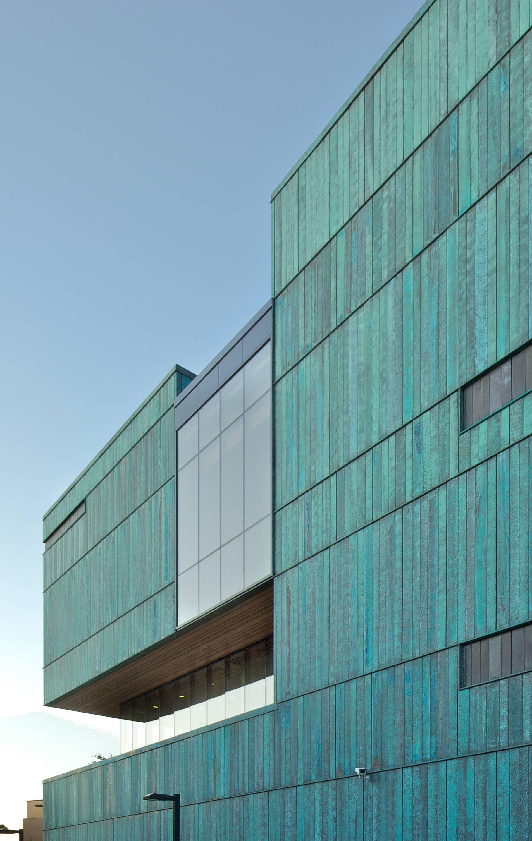 Detail of the exterior copper facade.