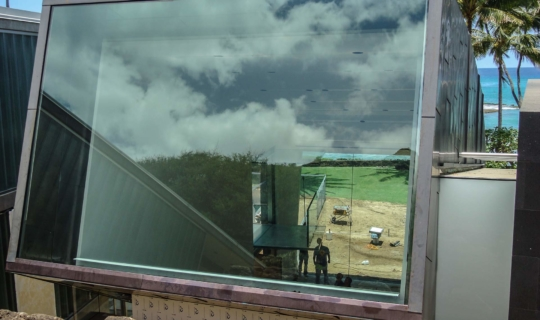 Detail of the copper window framing for Waipolu Gallery during construction