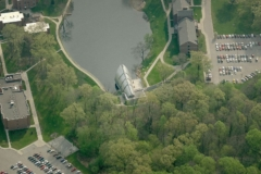 Aerial photograph of White Chapel at the Rose-Hulman Institute Campus.