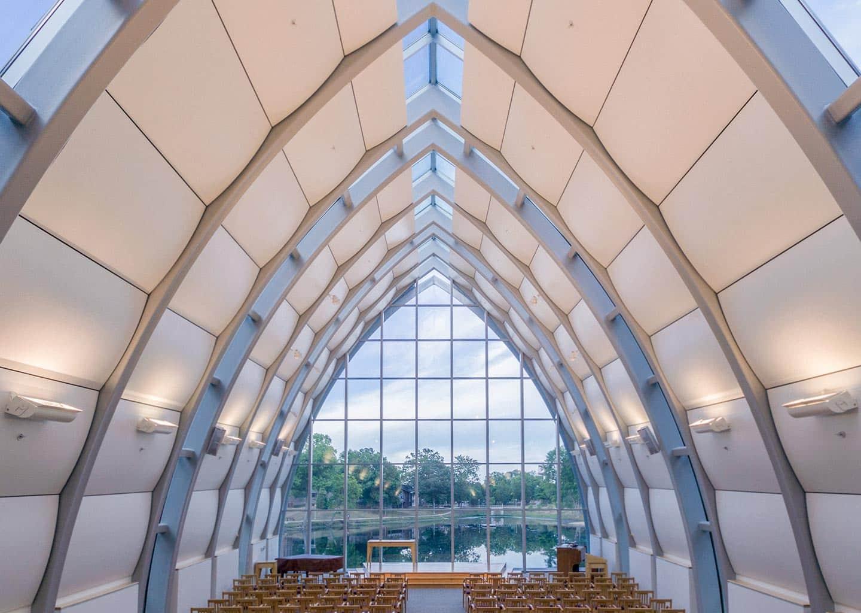 Interior photograph of the chapel at Rose-Hulman.