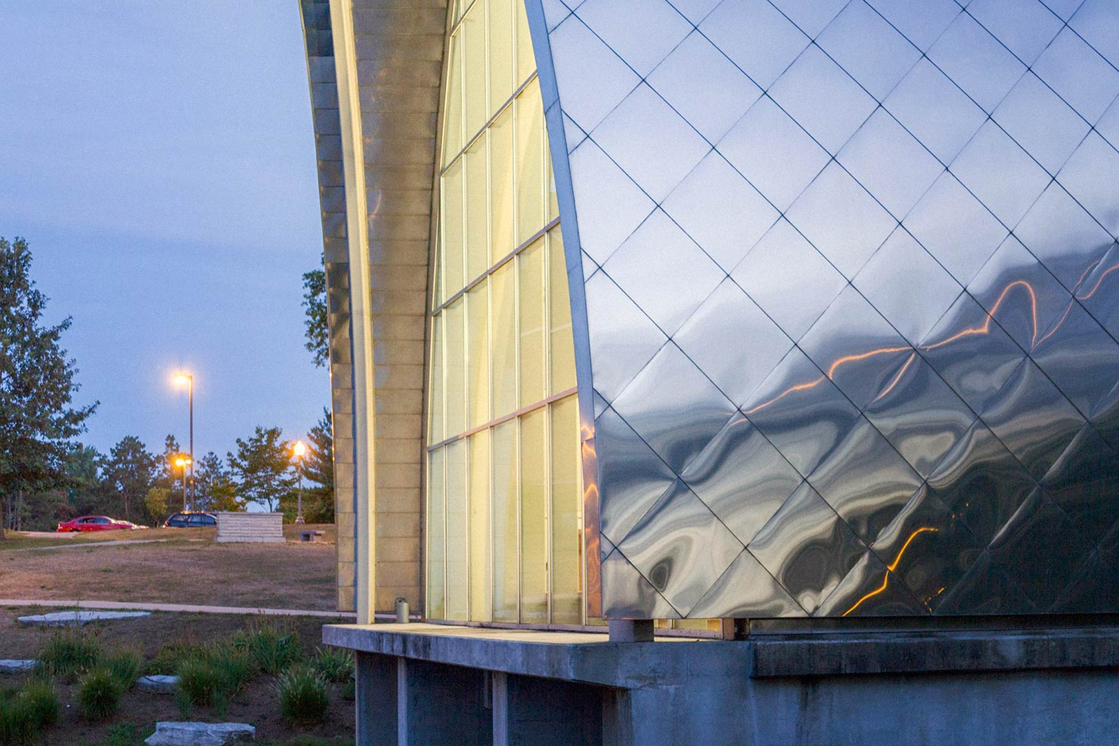 Detail of the stainless steel panel system on the Rose-Hulman campus White Chapel.