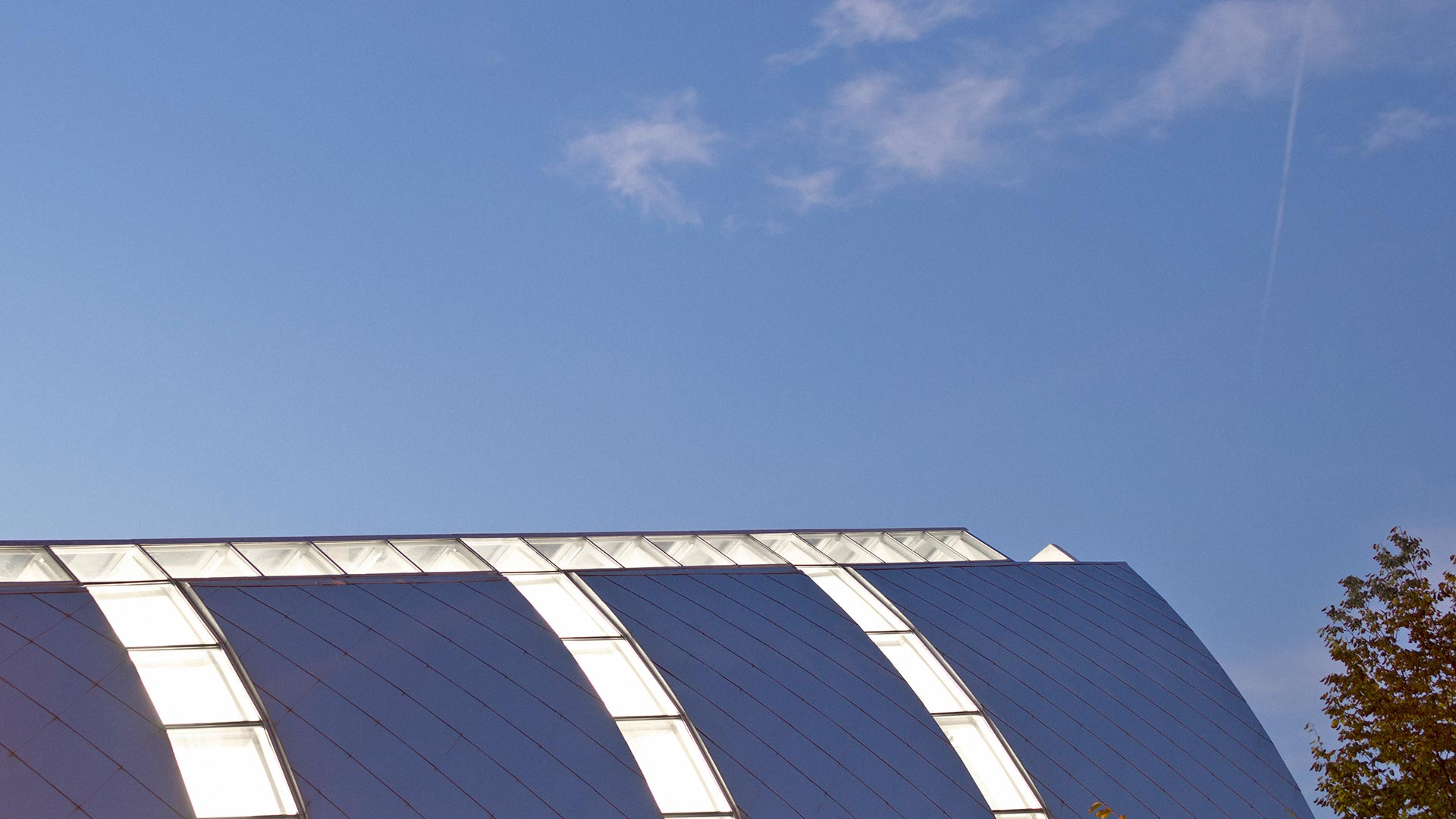 Photograph of White Chapel roof at dusk on the Rose-Hulman campus
