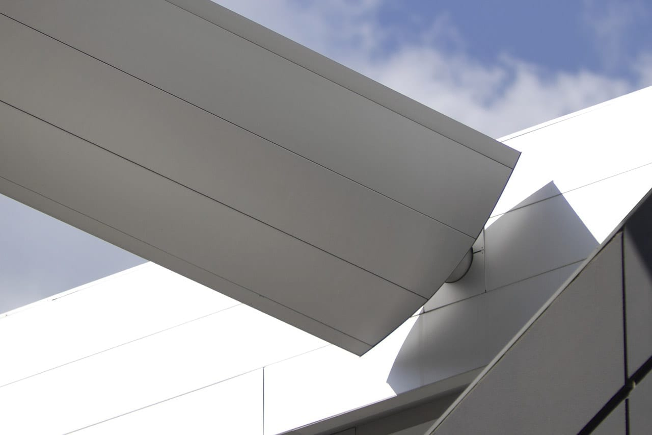 Detail of the Winspear Opera House aluminum canopy