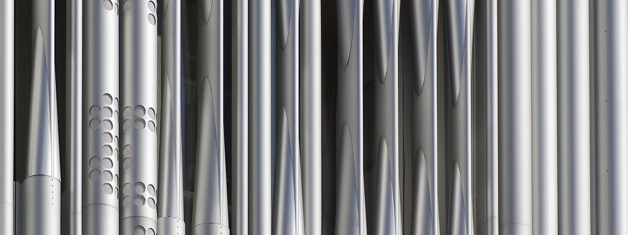Detail of the perforated aluminum lighting system for Wyly Theatre.