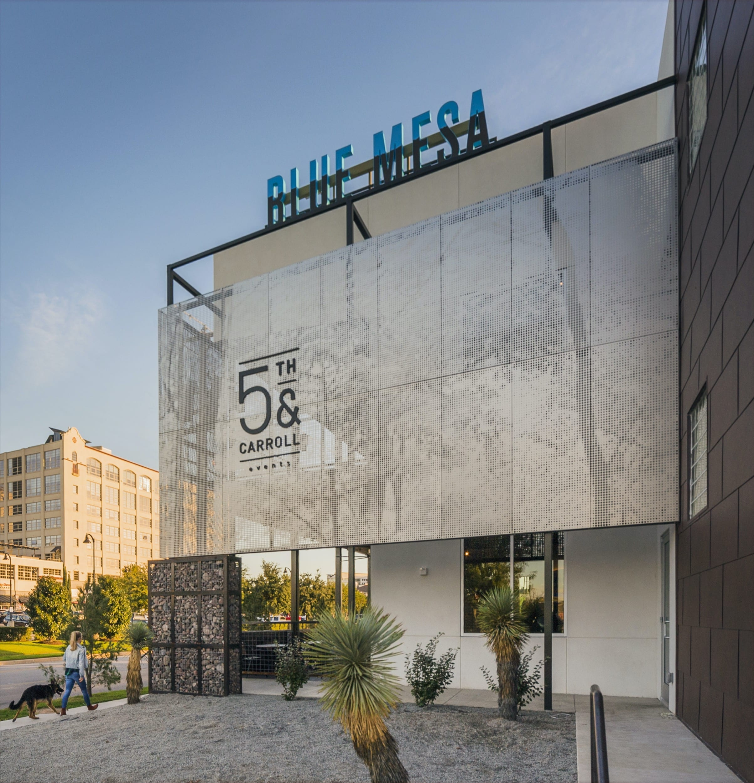 Restaurant facade and ImageWall screen in angel hair stainless steel with imagery of tree branches.